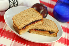 Peanut Butter and Jelly on Wheat Bread Royalty Free Stock Image