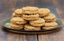 Peanut Butter and Oatmeal cookies filled with peanut butter crea Stock Images