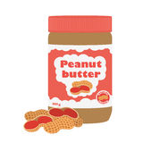 Peanut butter with peanuts. Healthy nutrition for breakfast. Flat style. Stock Photo