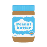 Peanut butter with peanuts. Healthy nutrition for breakfast. Flat style. Stock Image