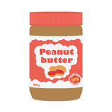 Peanut butter with peanuts. Healthy nutrition for breakfast. Flat style. Stock Photography