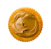 Peanut Butter on Round Cracker Royalty Free Stock Image