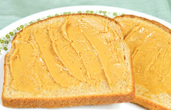Peanut butter sandwich. Two slice of peanut butter sandwich on a plate Stock Image
