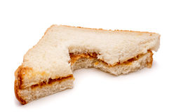Peanut butter sandwich with a bite taken out Royalty Free Stock Image