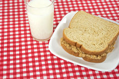 Peanut butter sandwich with milk Royalty Free Stock Image