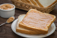 Peanut butter sandwich on plate Royalty Free Stock Photos