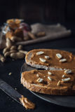 Peanut butter sandwiches food background Stock Image