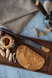 Peanut butter sandwiches food background Stock Photo