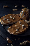 Peanut butter sandwiches food background Royalty Free Stock Photos