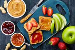 Peanut butter sandwiches stock images