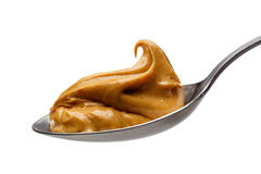 Peanut Butter. On Spoon, Close Up stock photography