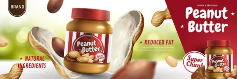 Peanut butter spread ads. Peanut butter spread appeared from nut pod in 3d illustration, bokeh background royalty free illustration