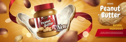 Peanut butter spread ads. Peanut butter spread appeared from nut pod with explosion effect in 3d illustration stock illustration