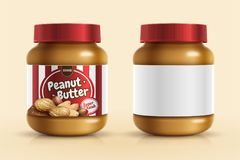Peanut butter spread mockup. Template with blank label in 3d illustration vector illustration
