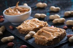 Peanut butter spread. Used as breakfast and snack Royalty Free Stock Images
