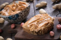 Peanut butter spread. Used as breakfast and snack Royalty Free Stock Photography