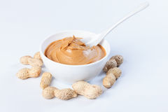 Peanut butter. Peanut spread  protein  food  lunch  delicious  butter  creamy  smooth  nut  brown   breakfast  snack  fat  healthy  nutrition  nutritious Royalty Free Stock Photography