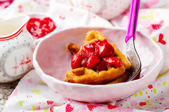 Peanut butter strawberry compote waffles Stock Images