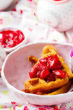 Peanut butter strawberry compote waffles Stock Photography