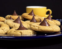 Peanut Butter Sweets. Peanut butter and chocolate cookies with coffee Royalty Free Stock Photo