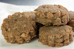 Peanut Butter and Toasted Oatmeal Cookies. Toasted oats and crunchy peanut butter cookies perfectly sized for snacking stock images