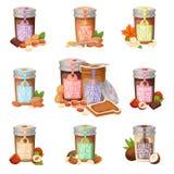 Peanut butter vector flat design illustration jar. Stock Image