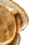 Peanut butter on white bread Stock Images