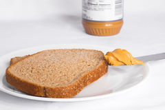 Peanut Butter on Whole Wheat Bread Royalty Free Stock Images