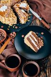 Peanut cake served with coffee, top view stock photography