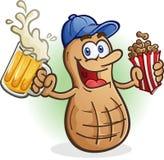 Peanut Cartoon Character Drinking Beer Royalty Free Stock Image