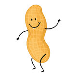 Peanut cartoon. Character; Smiling peanut drawing Stock Images
