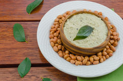 Peanut chutney. Made by grinding the peanuts and adding sauted mustard and curry leaves Royalty Free Stock Image