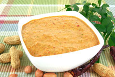 Peanut Chutney. Which serves as an Indian vegetarian side dish for items like the Indian flat bread or chapati, in a bowl Stock Image
