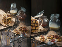 Peanut cookies and chocolate drops Royalty Free Stock Images