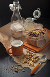 Peanut cookies with cup of milk Royalty Free Stock Images