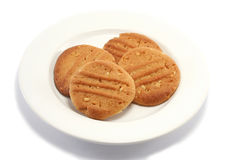 Peanut Cookies on a Plate. Homemade peanut butter cookies on a plate from a higher angle royalty free stock photo