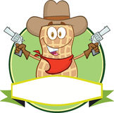 Peanut Cowboy Cartoon Label Stock Photography