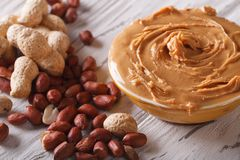 Peanut cream in a bowl close up horizontal stock photography