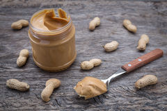 Peanut cream in a jar. Dietary foods for the heart. Stock Photography