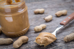 Peanut cream in spoon. Dietary foods for the heart. Stock Photography
