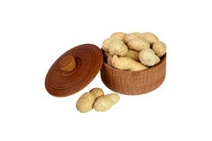 Peanut. Dried peanuts in wooden bowl Stock Image