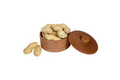 Peanut. Dried peanuts in wooden bowl Stock Photos