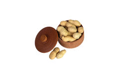 Peanut. Dried peanuts in wooden bowl Royalty Free Stock Photo