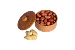 Peanut. Dried peanuts in wooden bowl Stock Photo