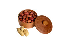 Peanut. Dried peanuts in wooden bowl Royalty Free Stock Image