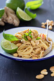 Peanut ginger one pan pasta Royalty Free Stock Photos