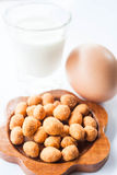 Peanut, low fat milk and egg Royalty Free Stock Image