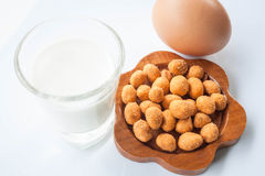 Peanut , milk and egg Royalty Free Stock Image