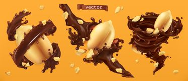 Free Peanut Nuts And Chocolate Splashes. 3d Vector Stock Images - 128861574