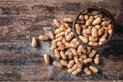 Peanut in sackcloth stock photo